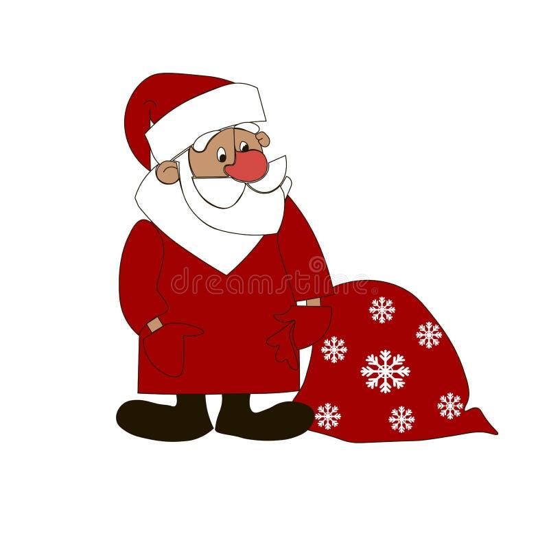 Санта Клаус с красной предпосылкой изолированной сумкой белой иллюстрация вектора