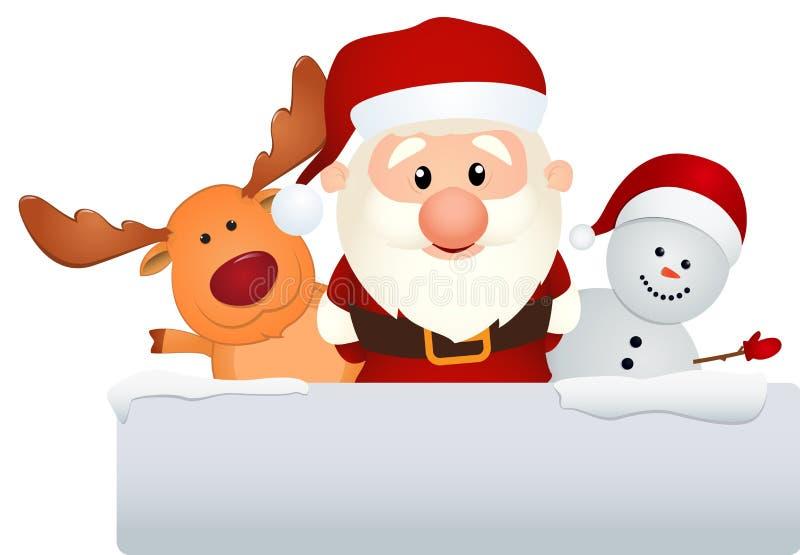 Санта Клаус с северным оленем и снеговиком в ландшафте зимы иллюстрация штока