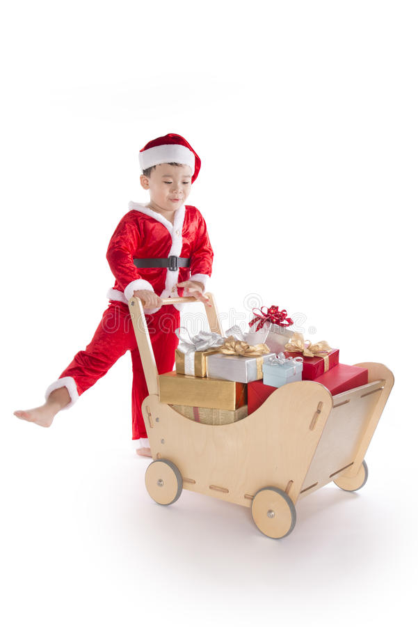 Санта Клаус утомлял труженика мальчика стоковые изображения rf