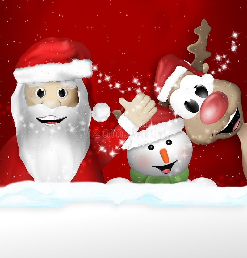 Санта Клаус Sowman и чувство рождества северного оленя бесплатная иллюстрация