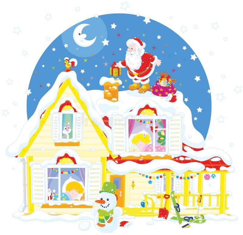 Санта на крыше с подарками иллюстрация штока