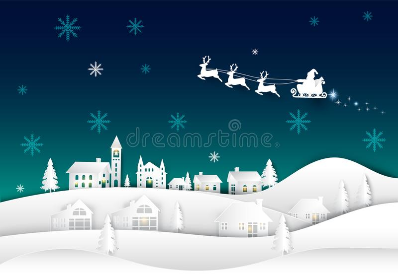 Санта на ночном небе в предпосылке зимы искусства бумаги деревни иллюстрация штока