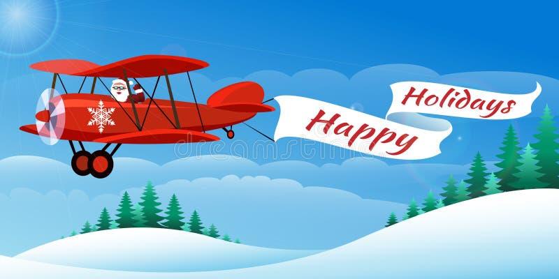 Санта на самолете бесплатная иллюстрация
