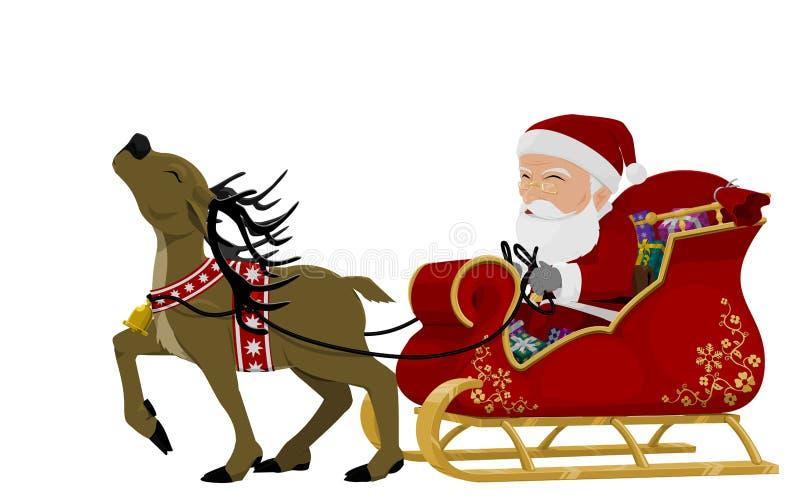 Санта на санях иллюстрация штока