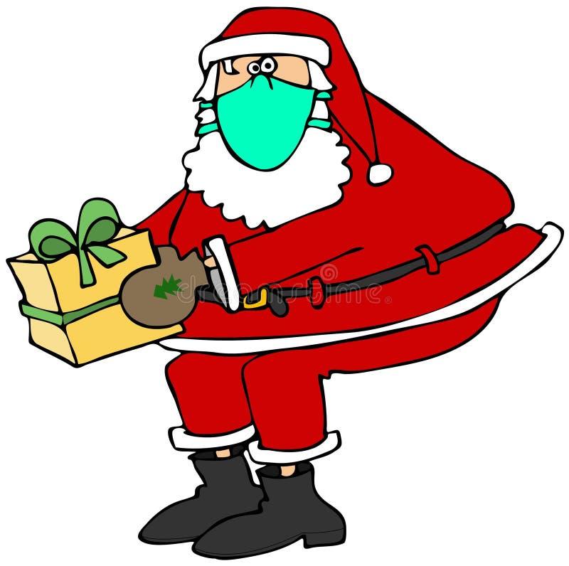 Санта нося лицевой щиток гермошлема иллюстрация штока