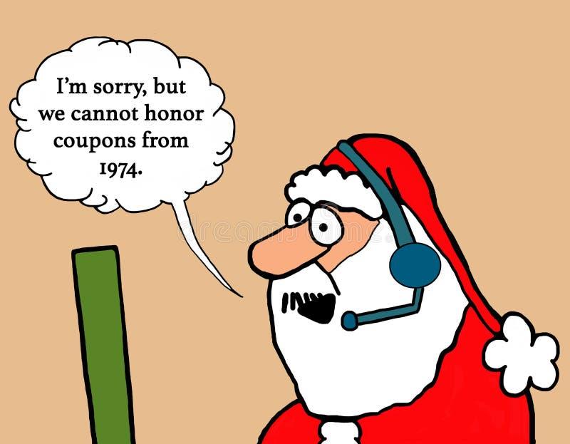 Санта отвергает талоны иллюстрация штока