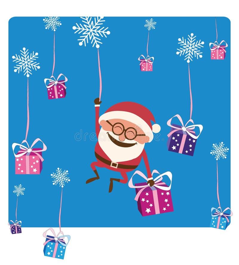 Санта понижаясь с рождеством Gifs стоковое изображение rf