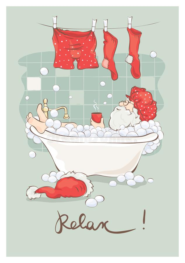 Санта после работы иллюстрация штока