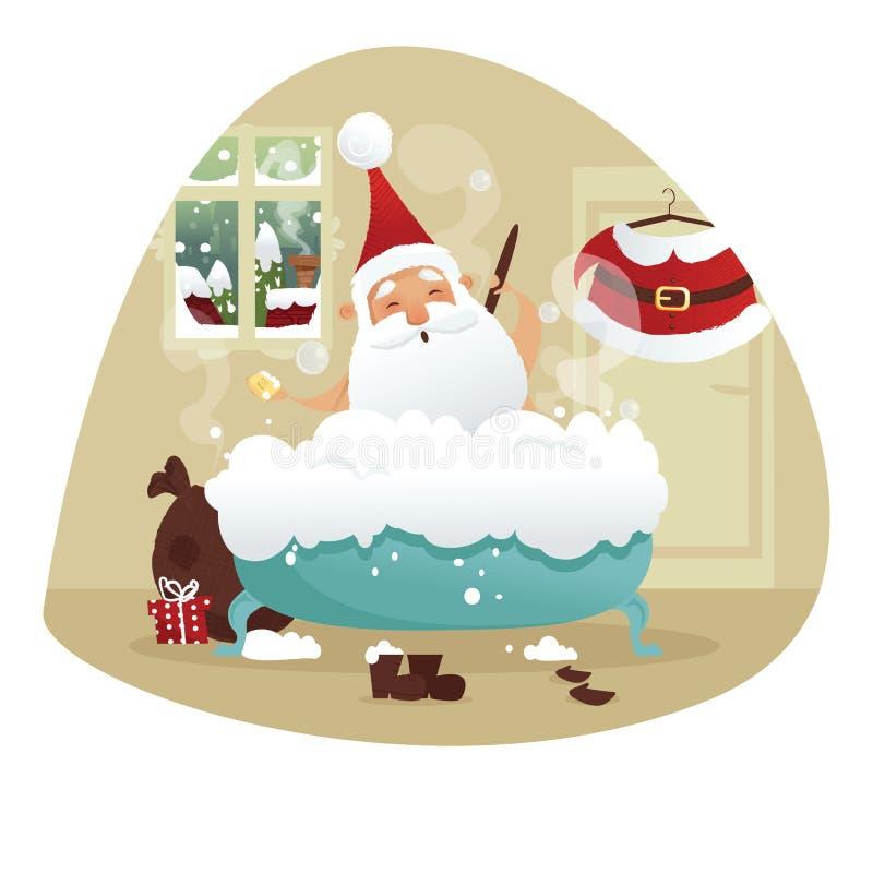 Санта принимая ванну иллюстрация штока