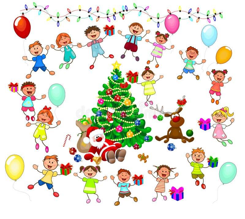 Санта, северный олень и радостные дети бесплатная иллюстрация