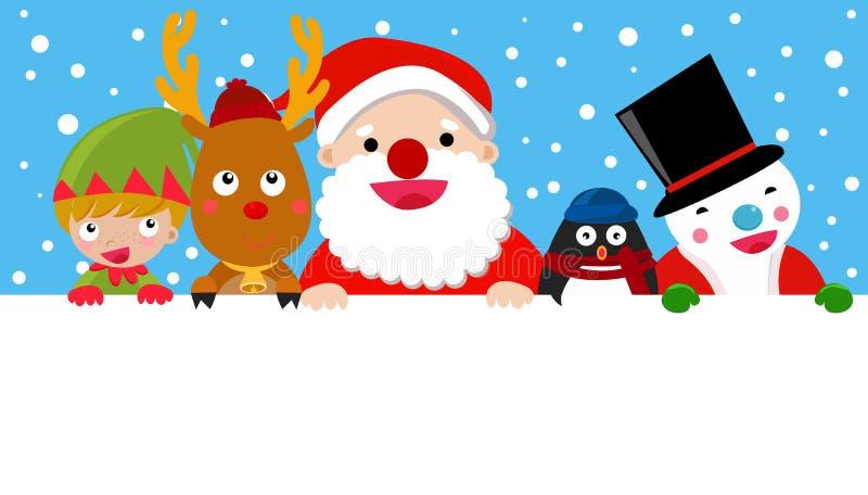 Санта, северный олень, человек снега, эльф и пингвин, рождество бесплатная иллюстрация