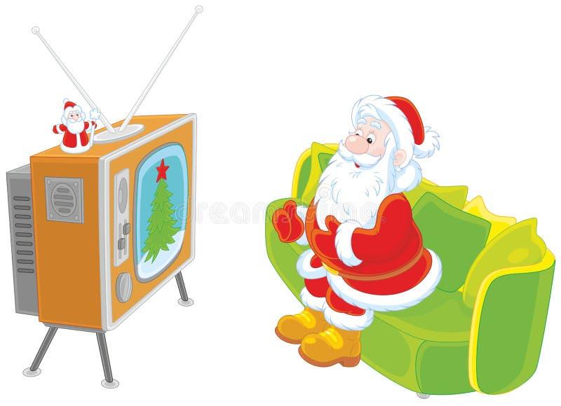 Санта смотря ТВ бесплатная иллюстрация