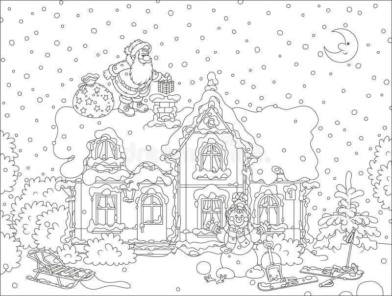 Санта с подарками на крыше иллюстрация вектора