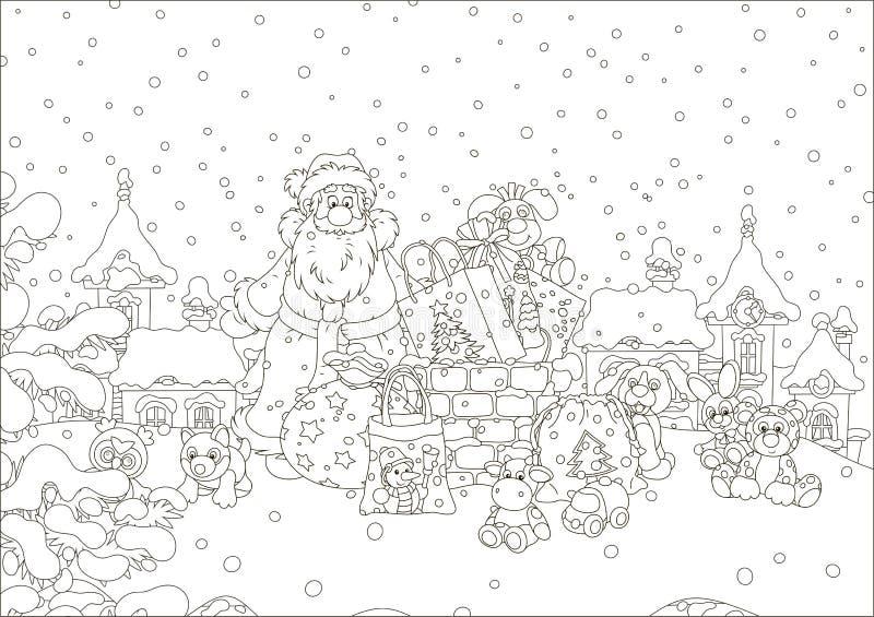 Санта с подарками на покрытой снег крыше иллюстрация штока