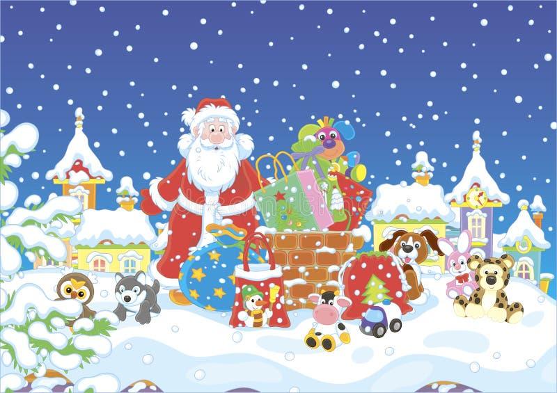Санта с подарками на покрытой снег крыше иллюстрация вектора
