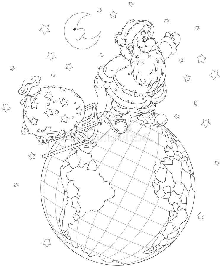 Санта с подарками на глобусе иллюстрация штока