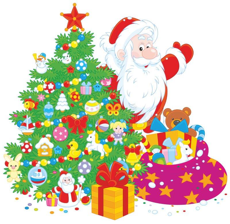 Санта с подарками бесплатная иллюстрация