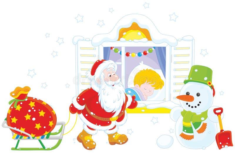 Санта с подарками иллюстрация штока