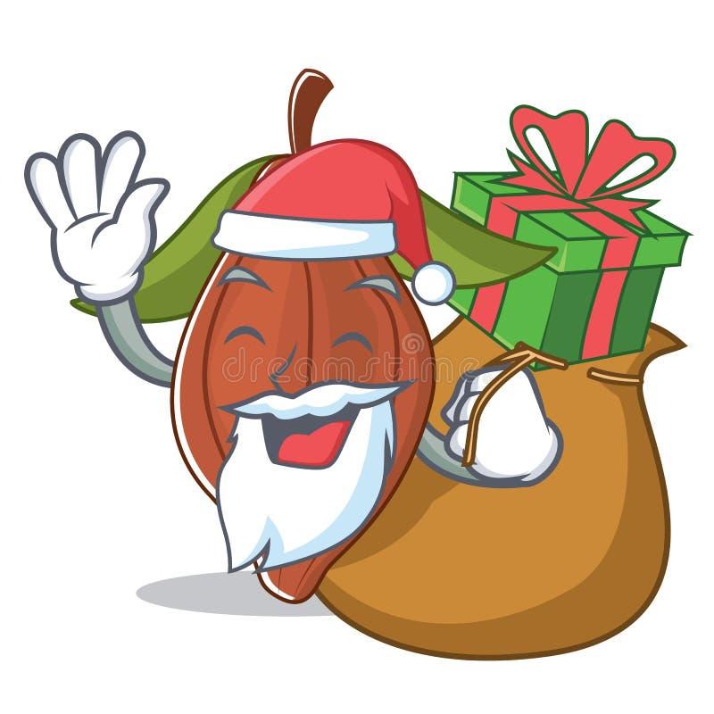 Санта с шаржем талисмана фасоли какао подарка бесплатная иллюстрация