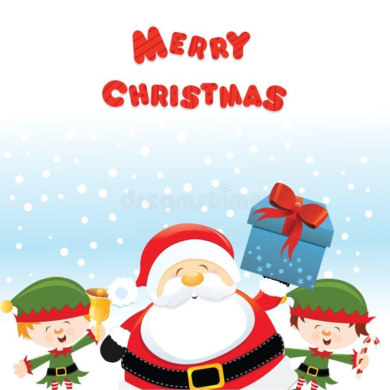 Санта с ЭЛЬФАМИ иллюстрация штока