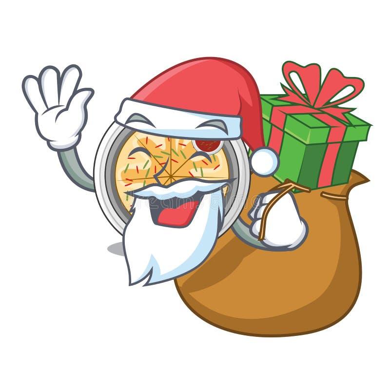 Санта с buchimgae подарка зажарено в лотке характера иллюстрация вектора