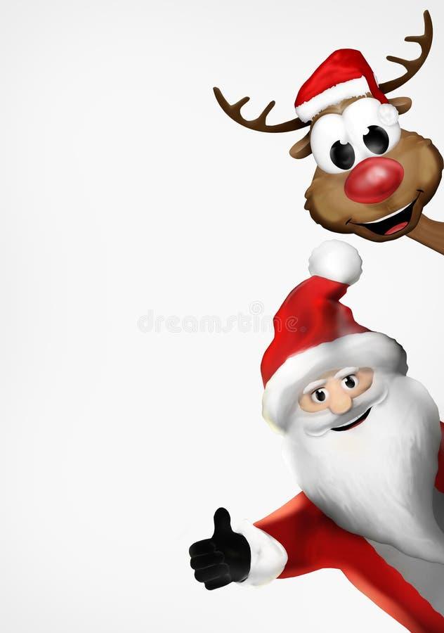 Санта 3d представляет северный оленя Санта Клауса рождества иллюстрация штока