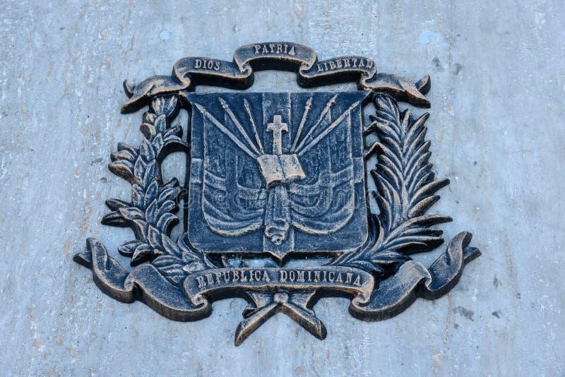 Санто Доминго, Доминиканская Республика Бронзовая доска в испанском квадрате, колониальном городе Санто Доминго стоковое фото rf