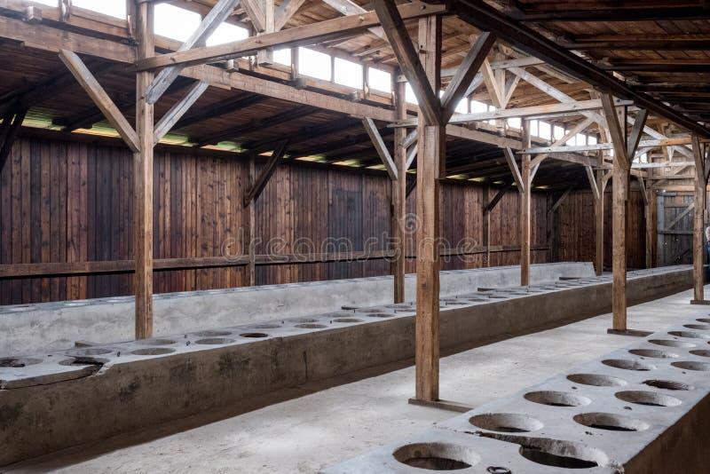 Санузел на концентрационном лагере Освенцима Birkenau нацистском, Польше стоковая фотография rf