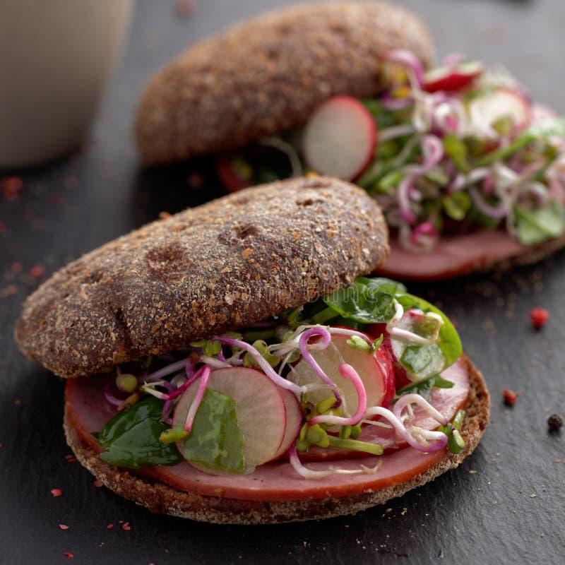 Сандвичи ветчины и овощей стоковое изображение