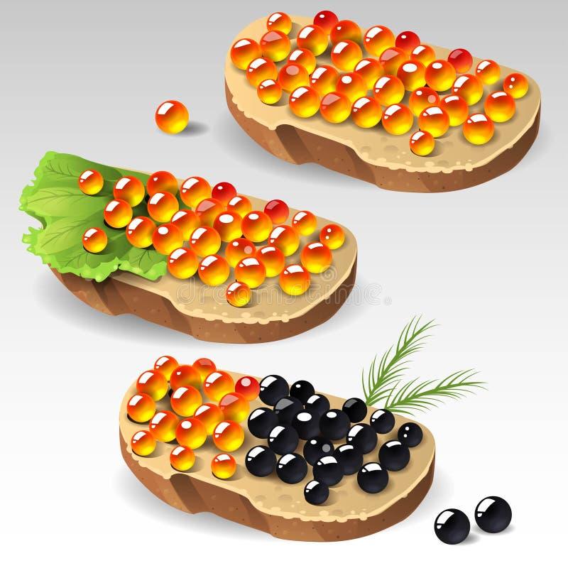 Сандвичи с икрой иллюстрация штока