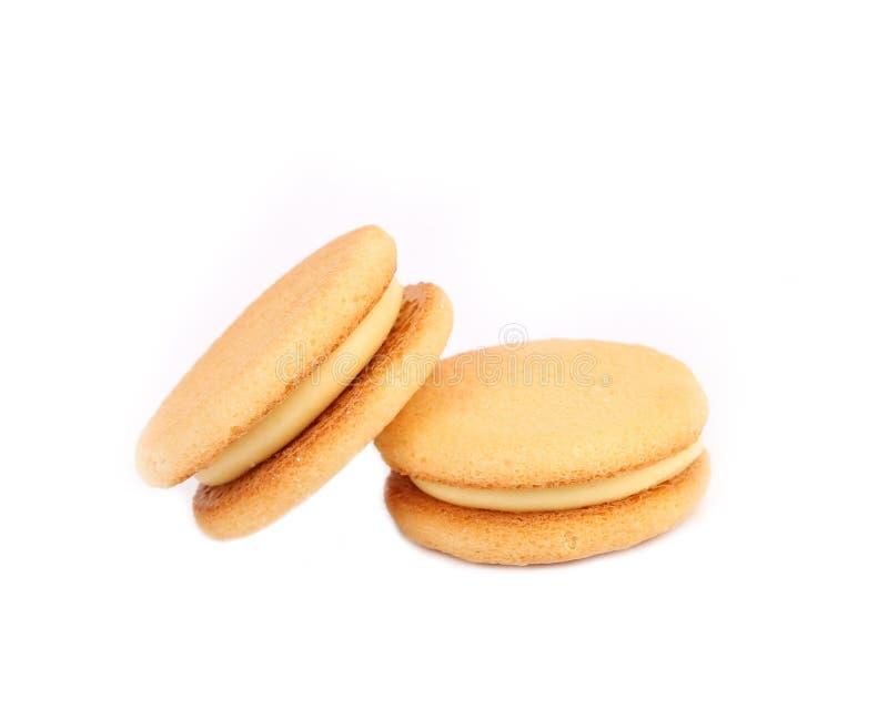 Сандвич печенья с белой завалкой. Конец вверх. стоковые фотографии rf