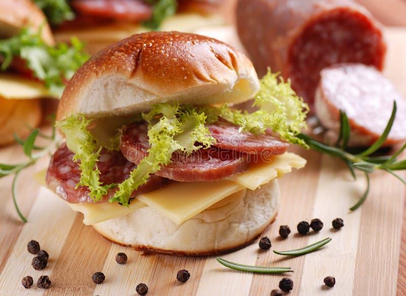 Сандвич с салями стоковая фотография rf