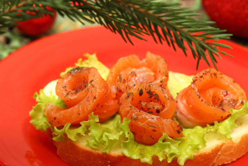 Сандвич с семгами стоковое фото rf