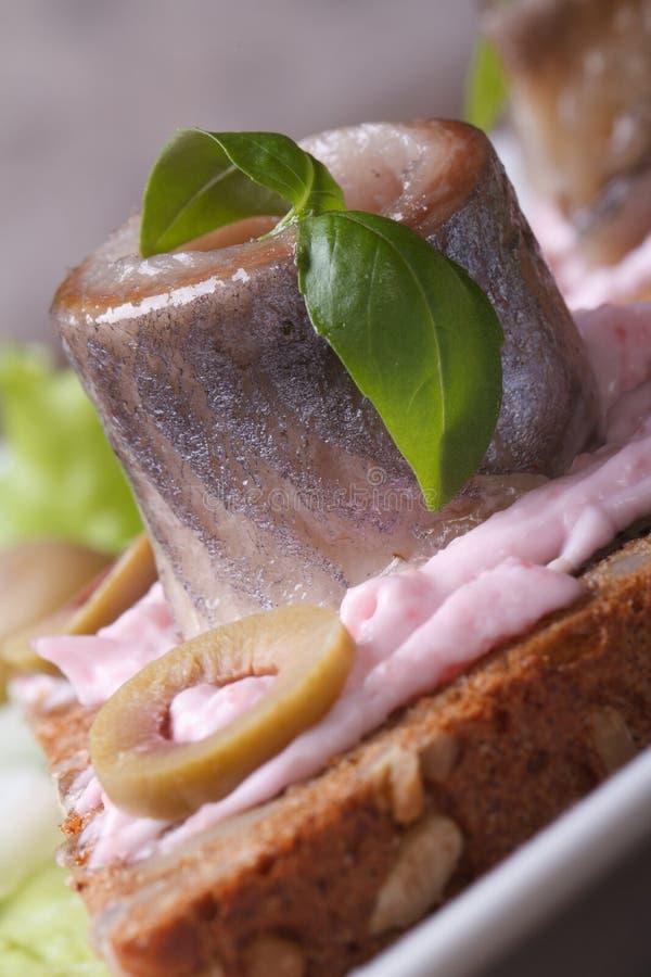 Сандвич с сельдями, sauce пинк, базилик и оливки стоковая фотография