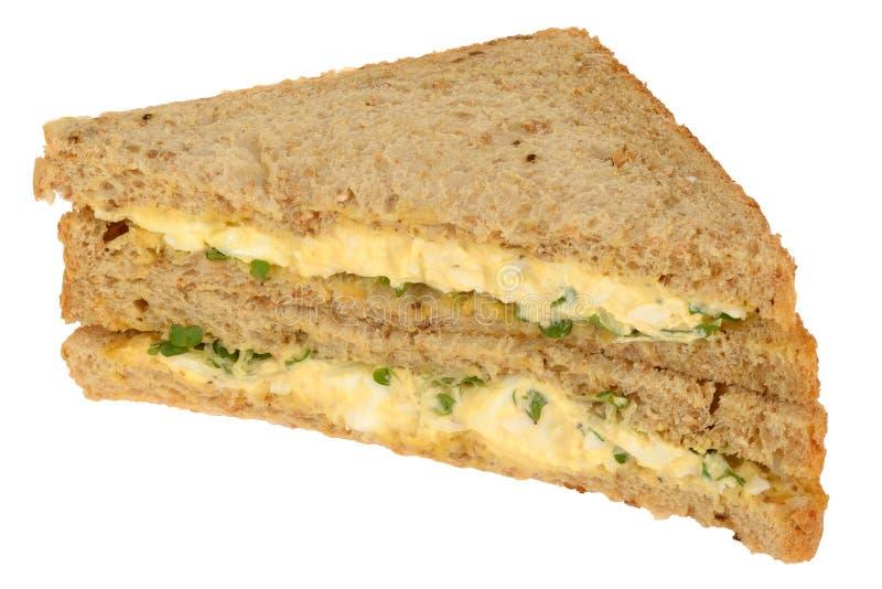 Сандвич яичка и кресса на хлебе отрезанном Wholemeal стоковое фото