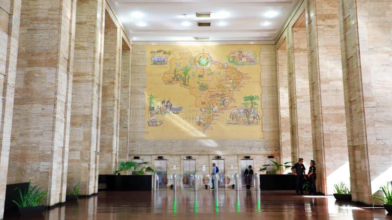 САН-ПАУЛУ, БРАЗИЛИЯ - 15-ОЕ МАЯ 2019: внутренность городской ратуши муниципалитета Сан-Паулу Prefeitura делает Municipio de Сан-П стоковая фотография
