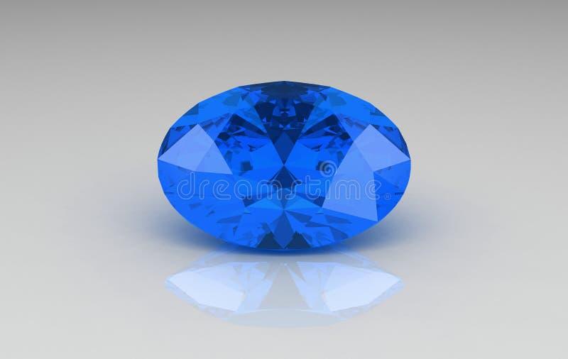 сапфир голубого gemstone большой овальный иллюстрация вектора