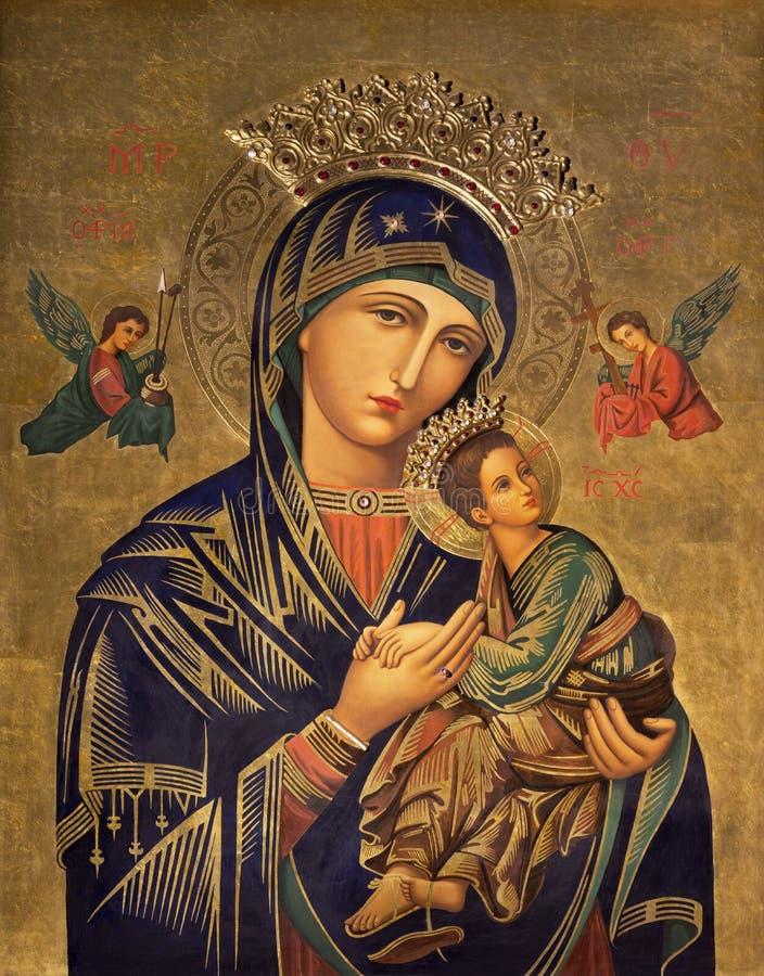 САРАГОСА, ИСПАНИЯ - 1-ОЕ МАРТА 2018: Значок картины Madonna в церков Iglesia del Perpetuo Socorro pater Иисусом Faus стоковое фото