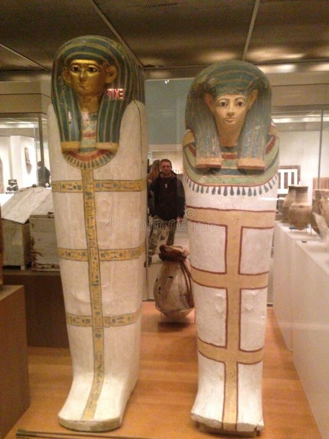 Саркофаг от захоронений родителей Senenmut, Hatnofer и Ramose, и их семьи на столичном музее изобразительных искусств стоковое фото rf