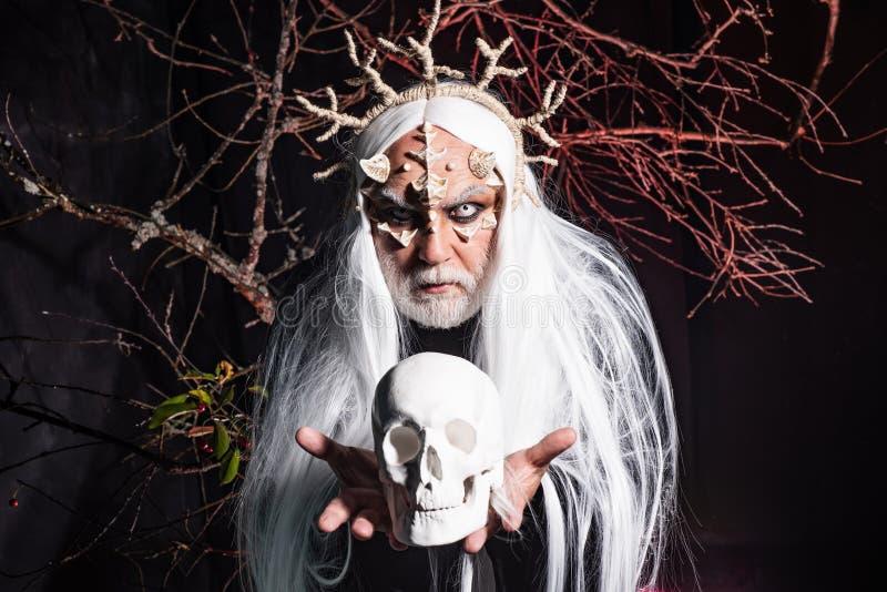 Сатана в аду Ужас с страшным Хэллоуином Чужой с кожей дракона и серой бородой Демон с кровавыми рогами на голове стоковые фотографии rf
