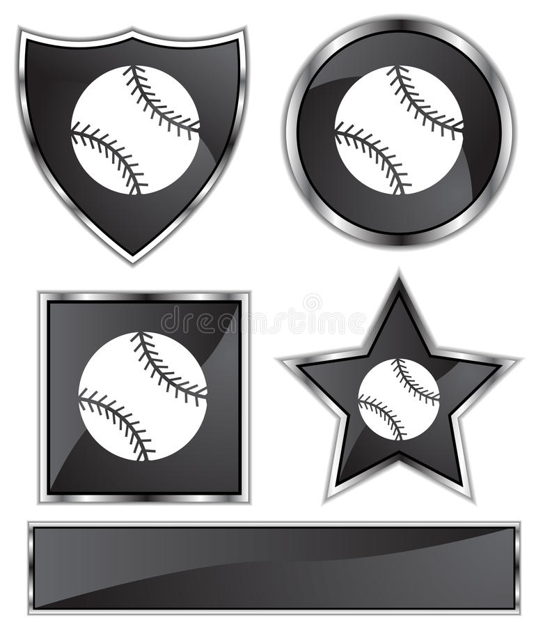 сатинировка бейсбола черная иллюстрация штока