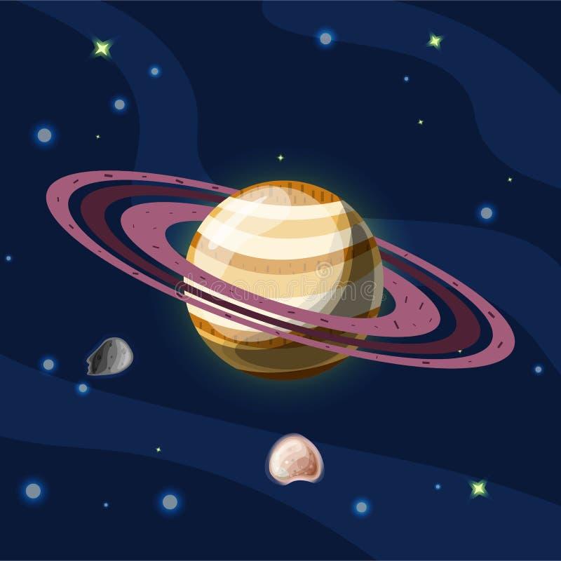 Сатурн, иллюстрация шаржа вектора Планета Сатурн с кольцами, изолированная планета солнечной системы в темном темносинем космосе, иллюстрация вектора