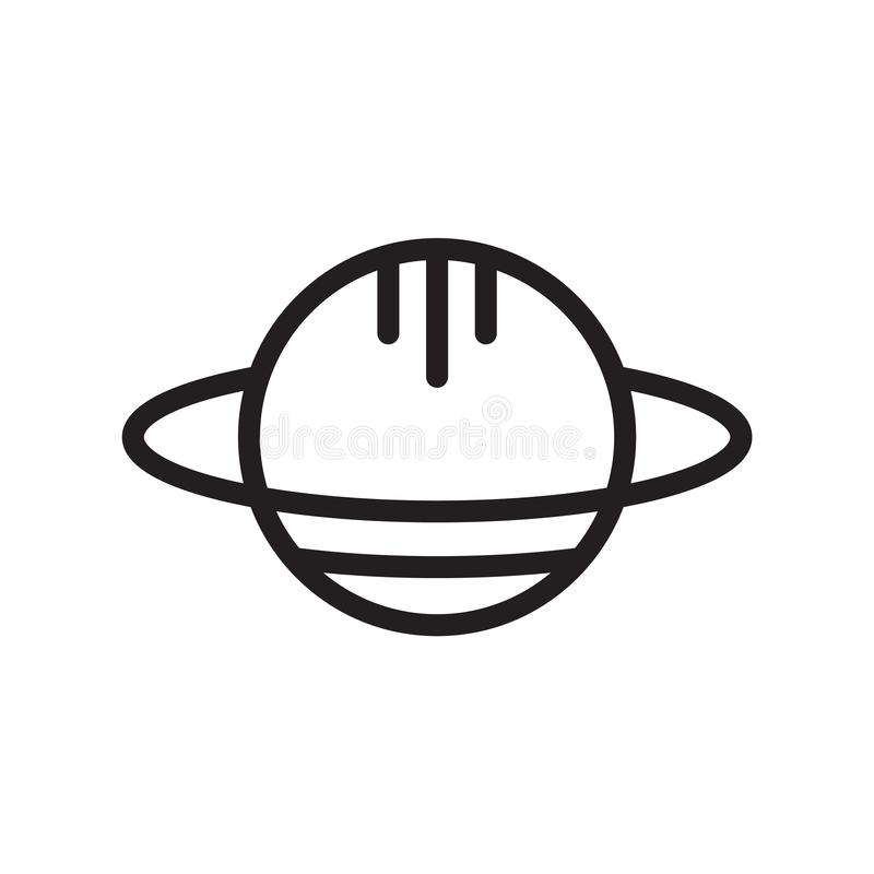 Сатурн с его вектором значка кольца изолированный на белой предпосылке, Сатурне с его знаком кольца, линией символом или линейным иллюстрация штока