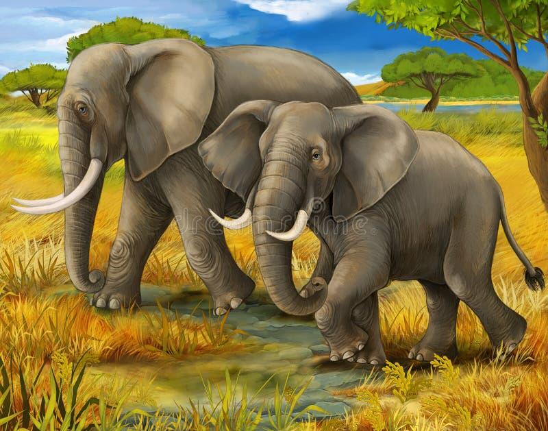 Сафари - слоны иллюстрация вектора