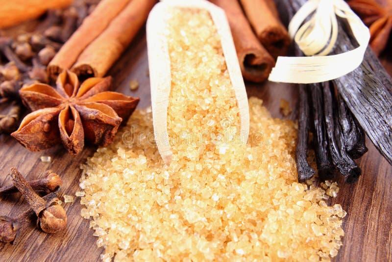 Сахарный тростник, ваниль, ручки циннамона, анисовка звезды и гвоздики, приправа для печь стоковая фотография