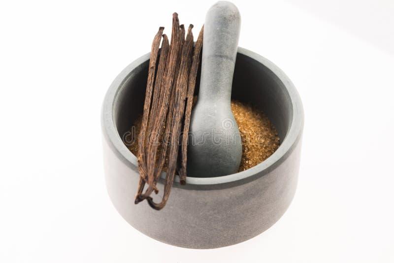 Сахар Брайна ванильный и ванильные фасоли в миномете стоковые фото