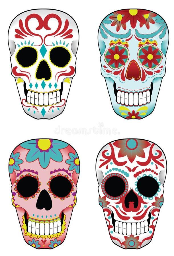 сахар черепов мексиканца установленный иллюстрация штока