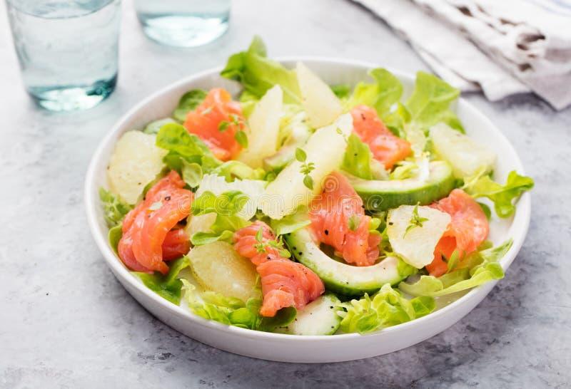 Салат копченых семг с авокадоом, грейпфрутом стоковое изображение rf