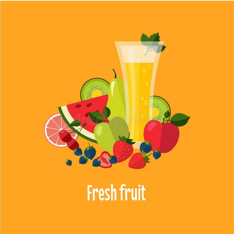 Салат от плодоовощ и ягод иллюстрация штока