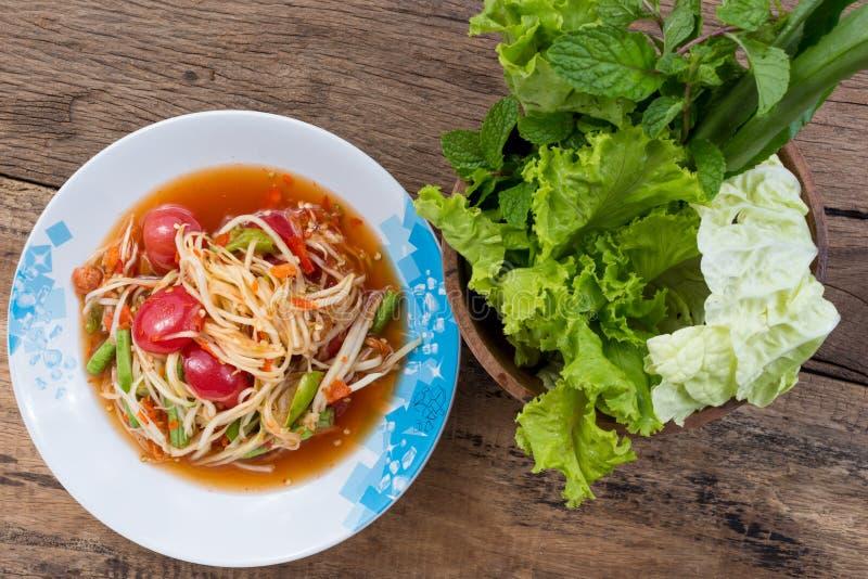 Салат папапайи с свежим овощем стоковые фотографии rf
